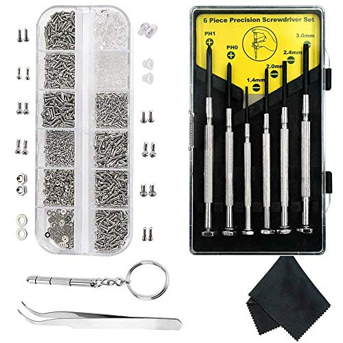 tellaLuna Kit de reparación de anteojos, 1100 tornillos pequeños y 10 almohadillas de nariz con 6 destornilladores pinzas para gafas, gafas de sol, gafas de sol, reloj y reparación
