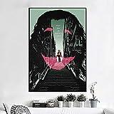 KWzEQ Cartel de la Pared de la decoración del hogar del Payaso de la Estrella de Cine, Arte Mural de la Moda en la Lona,50X75cm,Pintura sin Marco