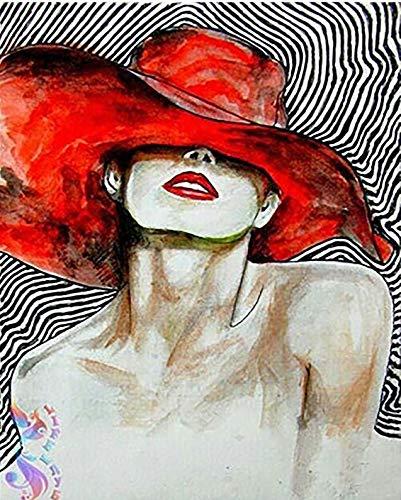Puzzle 1000 Piezas Mujer Sexy, en, Sombrero Rojo Puzzle 1000 Piezas educa Gran Ocio vacacional, Juegos interactivos familiares50x75cm(20x30inch)