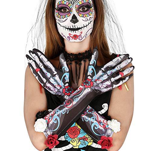 Guirca 17231 - Guantes Esqueleto con Flores 40 Cms