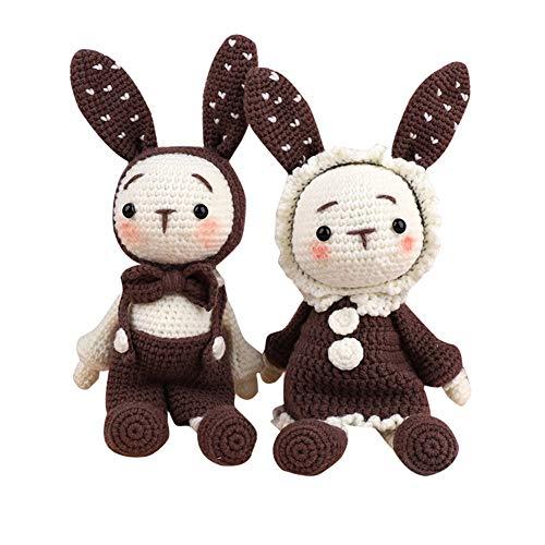Gelentea handgemaakte gehaakte wollen poppen materiaal pakket DIY lange oren konijnen handgemaakte poppen trui hoed breigoed