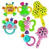 Hilai Baby-Beißring Spielzeug-Set 7 Stück von Baby-Geklapper-Spielzeug-Set-Shake und GRAP Baby...