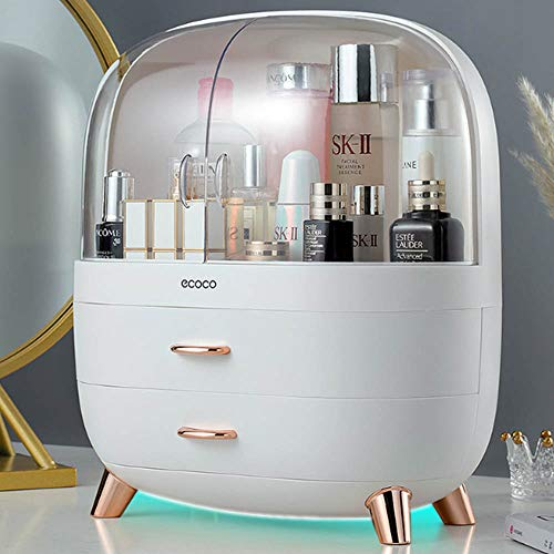CJHOME Makeup mirror makeup box, transparent cosmetic storage box-cosmetic display cabinet, jewelry and hair accessories. Bin