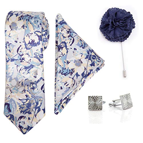 To The Nines Men's Blue Satin Tie, Pocket Square, Cufflinks & Lapel Pin