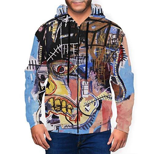 HangHisi Jean-Michel Basquiat Men's Sports Hoodie with Pockets Long Sleeve Lightweight Zipper Hoodie Sports Hoodie 3XL Black