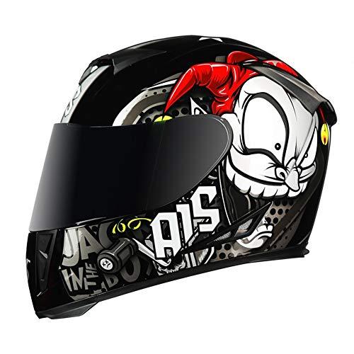 HIPJZ Integral-Helm · Full-Face Motorrad-Helm Roller-Helm Scooter-Helm Cruiser Sturz-Helm Street Fighter-Helm Visier Schnellverschluss Tasche (A,M(55-57cm))