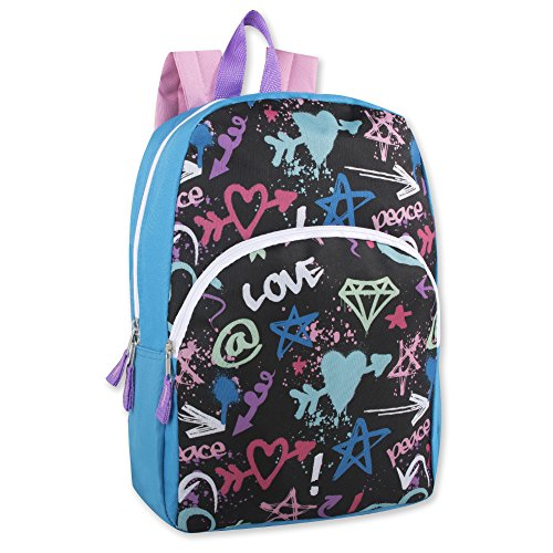 "Trail maker Kids Character Backpacks for Boys & Girls (15"") with Adjustable, Padded Back Straps (Love)"