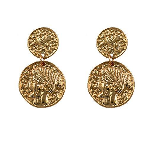 Retro Portrait, Roman Head, Coin Earrings, Fashionable Gold Earrings