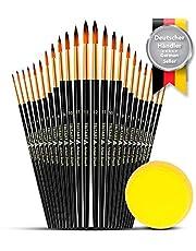 Set de pinceles puntiagudos o punta redonda Tritart | 24 pinceles de acuarela - acrílico - óleo | Esponja para pinceles