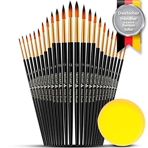 Tritart Spitzpinsel Set HOCHWERTIG | 24 Aquarell-Pinsel - Acryl - Öl | GRATIS Pinselschwamm