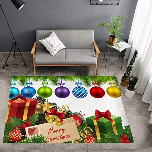 Lee My Alfombras de Feliz Navidad Alfombra de Navidad Alfombra de Piso Bolas Coloridas Alfombra de Juego para Dormitorio Sala de Juegos Decoración del hogar,Merry Christmas,50 * 80cm