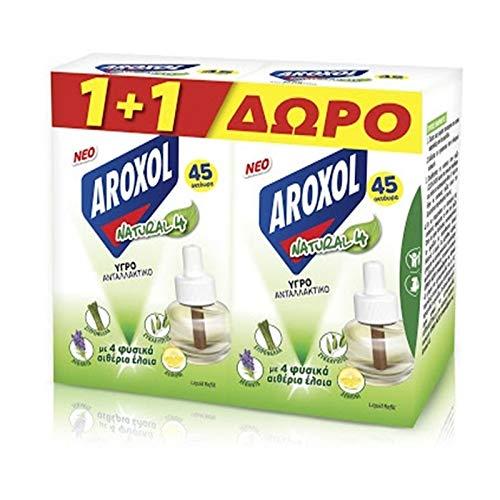 Repelente Aroxol para mosquitos e insectos líquido, recambio, pack de 2 unidades de recambio líquido con aceites esenciales naturales (Citronela, lavanda, eucalipto, limón)
