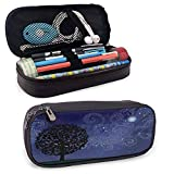 Starry Night Portable Carrying Case/Bag/Pouch/Holder, Tree on a Hill with Star Filled Sky and Moon Milky Way Galaxy Zippered Pen Case for School, Work & Office, Indigo Charcoal Grey Black