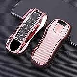 F-MINGNIAN-SPRING Funda para llave de coche, funda para llave de coche de fibra de carbono suave, para Porsche Cayenne 911 996 Macan Panamera Boxster 986 987 azul (color: rosa)
