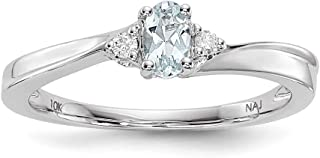 Plata de Ley rodio aguamarina piedra Natal anillo–Anillo Tamaño opciones gama: L a P