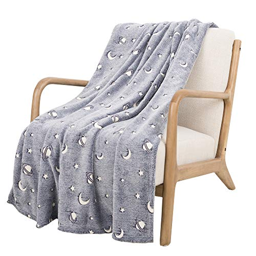 SOCHOW Glow in The Dark Throw Blanket 50 x 60 Inches, Galaxy Stars Pattern Flannel Fleece Blanket, All Seasons Grey Blanket for Kids