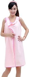 Beito バスタオル 着れるスタイル ずり落ちない バスローブ 大判 マイクロファイバー レディース用 吸水 速乾 簡単に巻く 抗菌仕様 70*140CM ピンク
