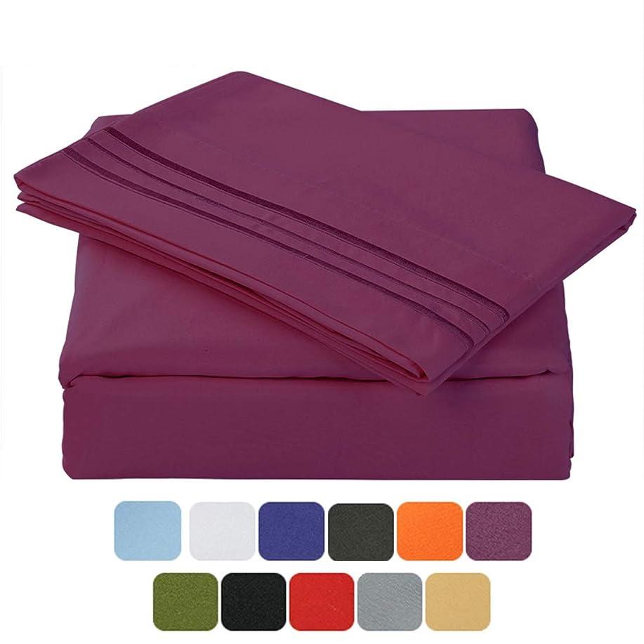 応じる品変更可能(Full, Purple) - TasteLife 105 GSM Deep Pocket Bed Sheet Set Brushed Hypoallergenic Microfiber 1800 Bedding Sheets Wrinkle, Fade, Stain Resistant - 4 Piece(Purple,Full)