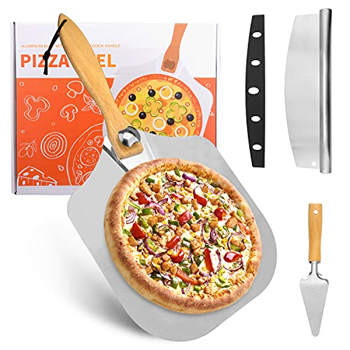 Beusoft Aluminum Pizza Peel Set, Pizza Paddle with Foldable Wood Handle, Stainless Steel Pizza Rocker Cutter and Pizza Spatula Server for Baking Homemade Pizza Bread Pastry Cake Meat