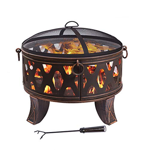 Tazón de fuego de acero 66 cm Pozo de fuego negro Estilo clásico Canasta...