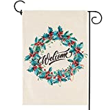 Christmas Wreath Small Garden Flag Vertical Double Sided Winter Merry Xmas Welcome Burlap Yard Outdoor Decor 12.5 x 18 Inches