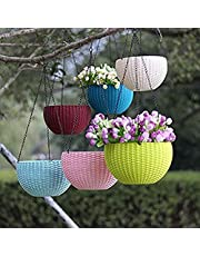 Nursery Hub 6 Pcs Hanging Baskets Rattan Waven Flower Pot Plant Pot with Hanging Chain for Houseplants Garden Balcony Decoration in Multicolor