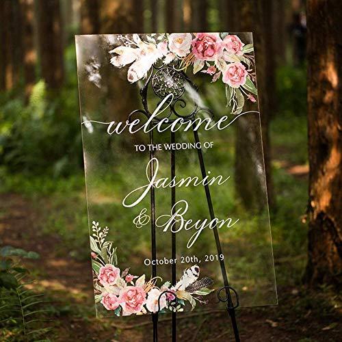 Promini Hochzeitsschild aus Acryl, klar bemalt, Hochzeitsdekoration, personalisierbar