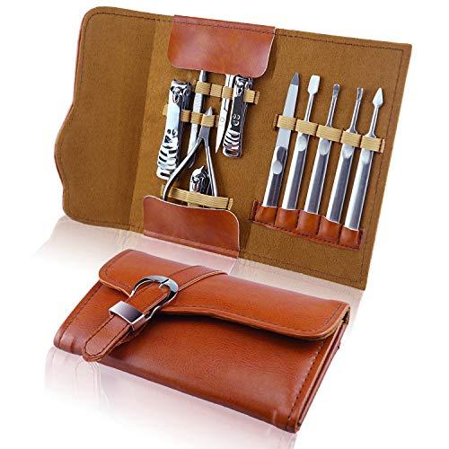YBwanli set manicura de 11 piezas, set de manicura y pedicura, kit manicura, cortaúñas, tijeras para el cabello para la nariz, con bolsa de cuero de alta calidad juego de regalo