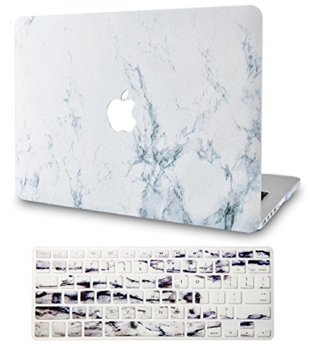 KECC Laptop Case Compatible with MacBook Pro 13' (2020/2019/2018/2017/2016) w/Keyboard Cover Plastic Hard Shell A2159/A1989/A1706/A1708 Touch Bar 2 in 1 Bundle (White Marble)