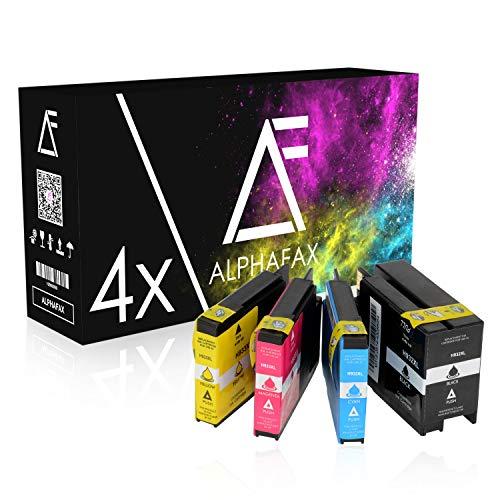 4 Alphafax Tintenpatronen kompatibel zu HP 932XL 933XL mit Chip + Füllstand für HP Officejet 6600 e-All-in-One 7110 6100 ePtrinter 6700 Premium 7610 - CN053AE-CN056A - Schwarz 50ml, Farben je 16ml