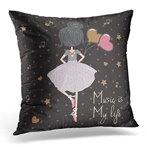 Funda de almohada decorativa con diseño de bailarina con globo y estrella y gato, cuadrada, decoración del hogar, 45,7 x 45,7 cm