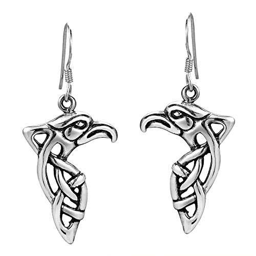 Mighty Eagle Head Celtic Weave .925 Sterling Silver Dangle Earrings