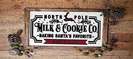 Señal divertida de Navidad de 20 x 30 cm para el Polo Norte, divertida y divertida para decoración de Navidad, para el Polo Norte, para hornear galletas de Papá Noel