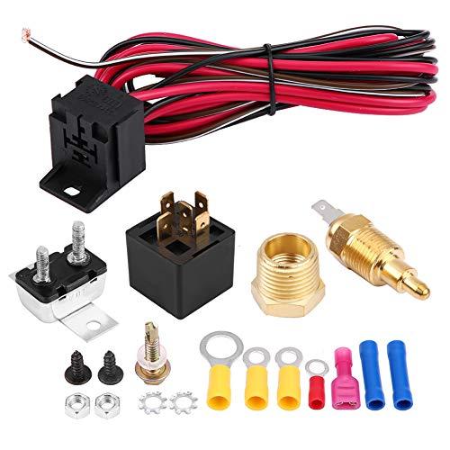 Thermostaatkit, auto universeel motorkoelmiddel thermostaat + sensor + 50A relais + toebehoren aan- bij 200o & uit bij 185o