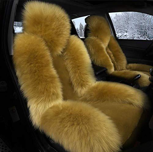 HYLH Autositzbezug Wollplüsch warm halten Weiches Kissen Komplettset mit 5 Universalmodellen, C