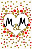 M and M Personalized Monogrammed notebook journal gift with Two Initials for Couples and lovers on valentine's day, wedding anniversary and special ... monogram Journal with blank Lined pages