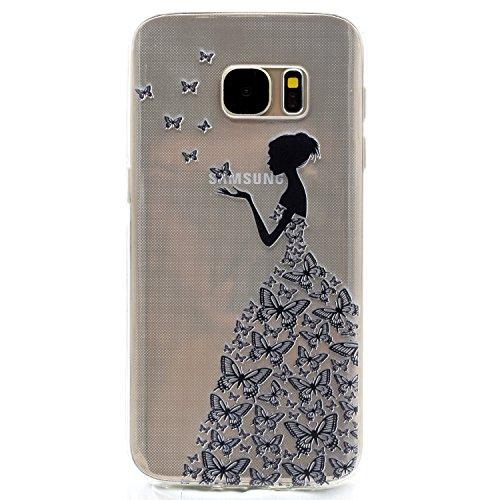 Galaxy S6 Edge Hülle, Funluna Transparent Weiche TPU Silikon Handyhülle Schmetterling und Mädchen Muster Hülle [Crystal Klar] TPU Bumper Case Schutzhülle für Samsung Galaxy S6 Edge