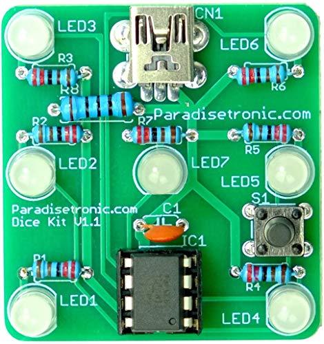 Paradisetronic.com Elektronischer Würfel, Elektronik-Bausatz zum Löten Lernen