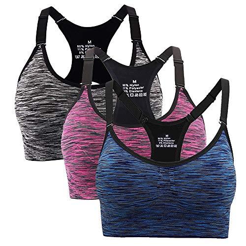 Hawiton Sport BH Damen Bustier Push Up Yoga Fitness Bra Top verstellbare Träger Ohne Bügel Lila-Blau-Schwarz L - Packung mit 3 Stück