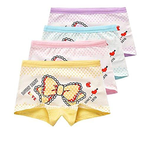 FAIRYRAIN 4 Packung Baby Kleinkind Mädchen Schmetterling Pantys Hipster Shorts Spitze Baumwollunterhosen Unterwäsche 6-8 Jahre