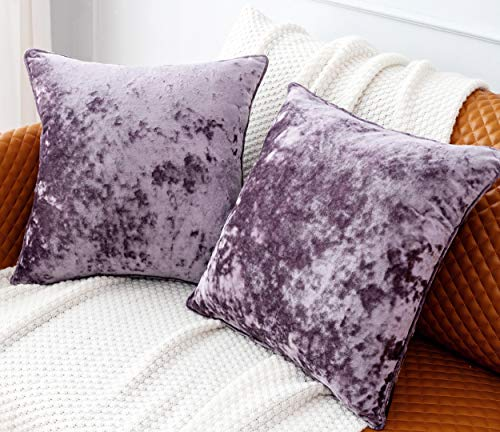 PANDATEX Pack of 2 Luxury Crushed Velvet Lavender Throw Pillow Covers for Sofa Couch Chair, 18'x 18' Square Purple Decorative Plush Pillowcases Cushion Cover for Bedroom Livingroom Car
