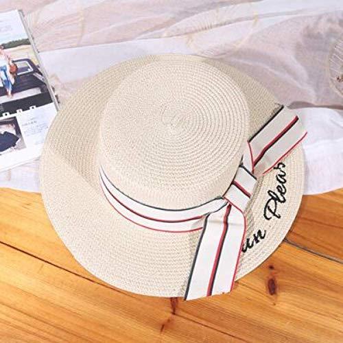WYRKYP Sombrero de Sol de Sol Plana Plana Sombrero de Paja Verano Bordado Letras Mujeres Viaje Gorras Ocio Playa Sol Sombreros Elegante Vacaciones Playa Sombrero,Beige