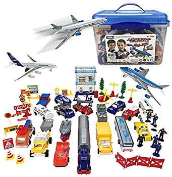 Liberty Imports Deluxe 57-Piece Kids Commercial Airport Playset in Storage Bucket with Toy Airplanes Play Vehicles Police Figures and Accessories