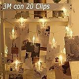 AutoWT LED Clips de fotos Luces de cadena de estrella, Luces de hadas de 3M con 20 clips transparentes, para colgar fotos, tarjetas y notas, dormitorio, pared, boda, fiesta de cumpleaños, decoración