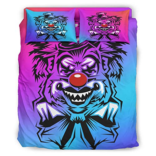 Four-piece Bed Set Printed Clown Horror Red Nose Halloween Geometric Pattern Duvet Cover Set With Pillowcases Christmas Duvet Cover white 240x264cm