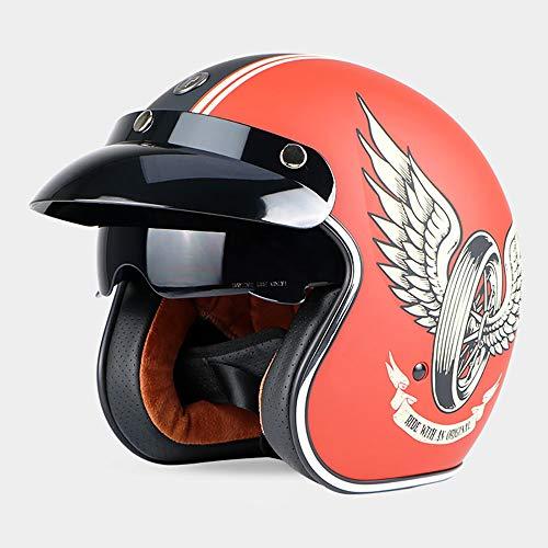 Sunzy Harley Motorradhelm, immergrüner 3/4 offener Motorradhelm für Erwachsene Retro-Männer und Frauen mit Kontaktlinsen- / DOT-Zertifizierung,D,M