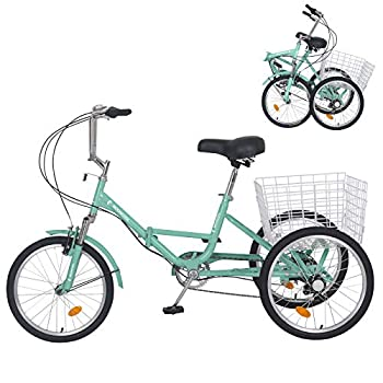 Slsy Adult Folding Tricycles 7 Speed Folding Adult Trikes 20 Inch 3 Wheel Bikes with Low Step-Through Foldable Tricycle with Basket for Adults Women Men Seniors.