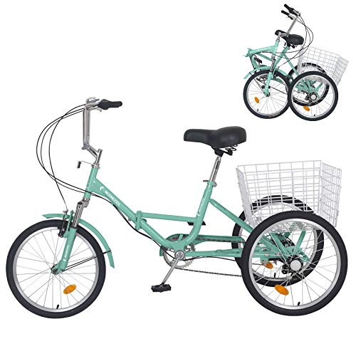 Slsy Adult Folding Tricycles, 7 Speed Folding Adult Trikes, 20 Inch 3 Wheel Bikes with Low Step-Through, Foldable Tricycle with Basket for Adults, Women, Men, Seniors.