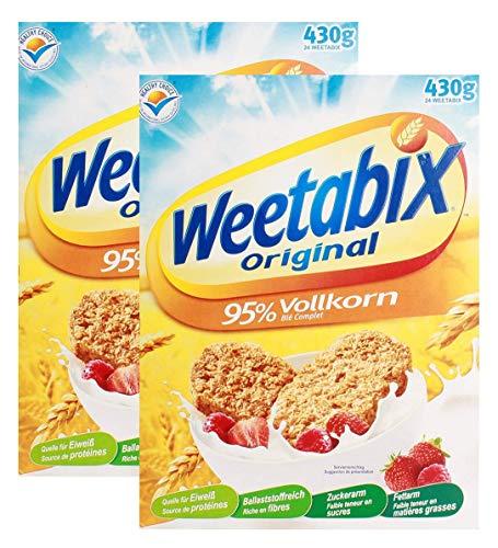 Weetabix Original Whole Grain - Cereales para el desayuno - Cereales integrales - Alto contenido de fibra, bajo azúcar, bajo contenido de grasa - 2x430g