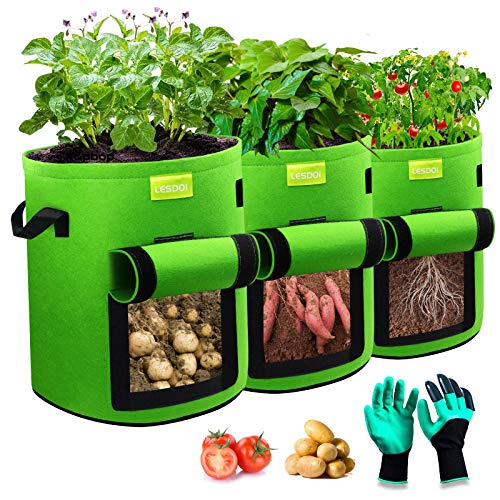 LESDOI Kartoffel Pflanzsack, 7 Gallonen Kartoffeln Pflanzen Tasche Tomaten Pflanztopf,Kartoffelsack Pflanzbeutel Grow Bag Pflanzsäcke für Kartoffeln, Blumen, Pflanzen, Gemüs (Grün)
